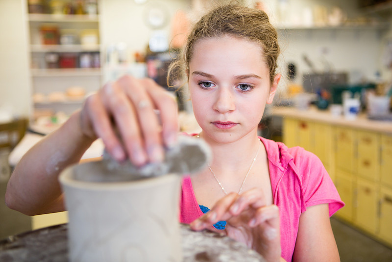 """Winter Osborne, 14, creates artwork from clay at the  Visual Arts Academy's ceramics class.  <div class=""""ss-paypal-button"""">Filename: AAR-12-3430-26.jpg</div><div class=""""ss-paypal-button-end"""" style=""""""""></div>"""