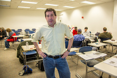 Guest lecturer Willy Stern poses during a break in his lecture during the 2013 Wintermester investigative reporting class in the Gruening Building.  Filename: AAR-13-3693-50.jpg