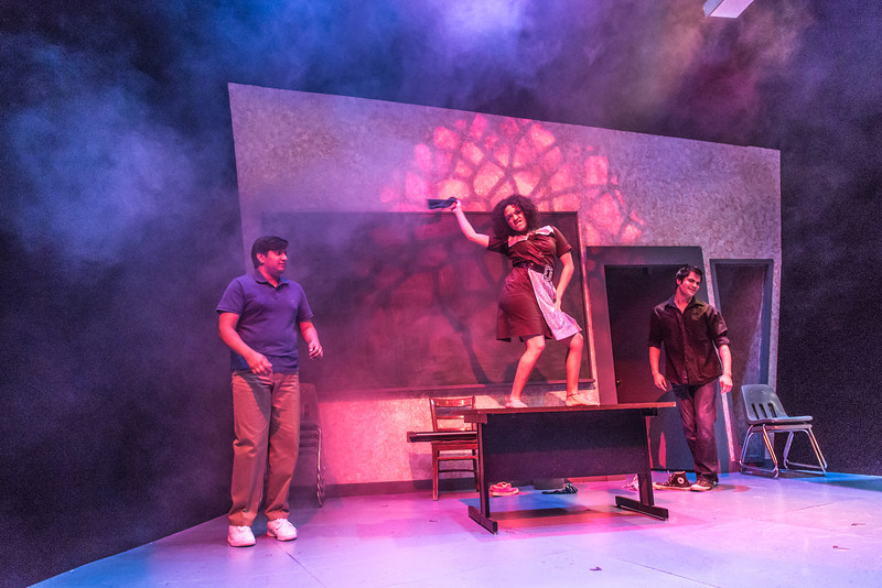 """Cast members Nicole Cowans, center, Sambit Misra, left, and Thomas Petrie rehearse a scene from Theatre UAF's production of """"Speech and Debate.""""  <div class=""""ss-paypal-button"""">Filename: AAR-13-3755-77.jpg</div><div class=""""ss-paypal-button-end"""" style=""""""""></div>"""