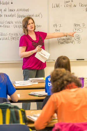 Amy Cooper lectures to her intermediate accounting students in a Duckering Building classroom.  Filename: AAR-14-4112-94.jpg