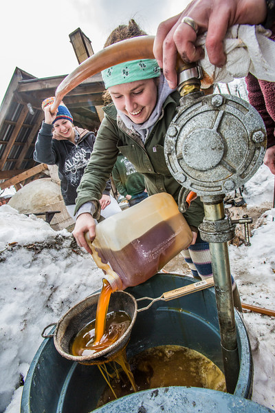 """Ceramics student Katie Antal pours gallons of waste cooking oil through a screen before its pumped into a kiln to glaze ceramics projects made during the spring 2013 semester.  <div class=""""ss-paypal-button"""">Filename: AAR-13-3802-53.jpg</div><div class=""""ss-paypal-button-end"""" style=""""""""></div>"""