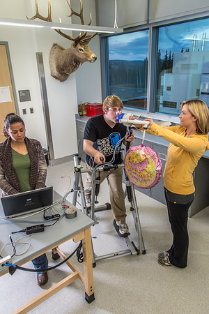 Chris Wilson works out on a stair step machine while Ashley Jacobs (in yellow) and Marisol Bastiani collect data measuring his respiration during a human physiology lab in the Murie Building.  Filename: AAR-13-3983-18.jpg