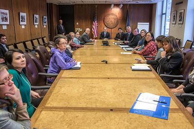 Alaska Governor Sean Parnell and members of his staff meet with Prof. Mike Davis and his students in RD 492 - Understanding the Legislative Process, during their week-long seminar in Juneau.  Filename: AAR-13-3714-535.jpg