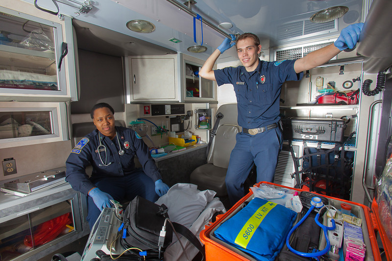 """UAF student firefighters/EMTs Lillian Hampton and Cory Kelly pause during a training exercise in the back of an ambulance housed in the Whitaker Building on the Fairbanks campus.  <div class=""""ss-paypal-button"""">Filename: AAR-11-3223-35.jpg</div><div class=""""ss-paypal-button-end"""" style=""""""""></div>"""