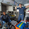 "UAF student firefighters/EMTs Lillian Hampton and Cory Kelly pause during a training exercise in the back of an ambulance housed in the Whitaker Building on the Fairbanks campus.  <div class=""ss-paypal-button"">Filename: AAR-11-3223-35.jpg</div><div class=""ss-paypal-button-end"" style=""""></div>"