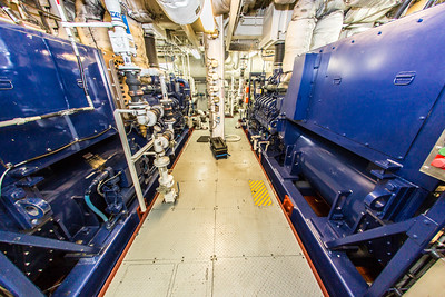 A view of the engine room on board the R/V Sikuliaq as the ship sits at the dock in Juneau during a stopover on its inaugural voyage to its home port of Seward in Feb., 2015.  Filename: AAR-15-4456-098.jpg