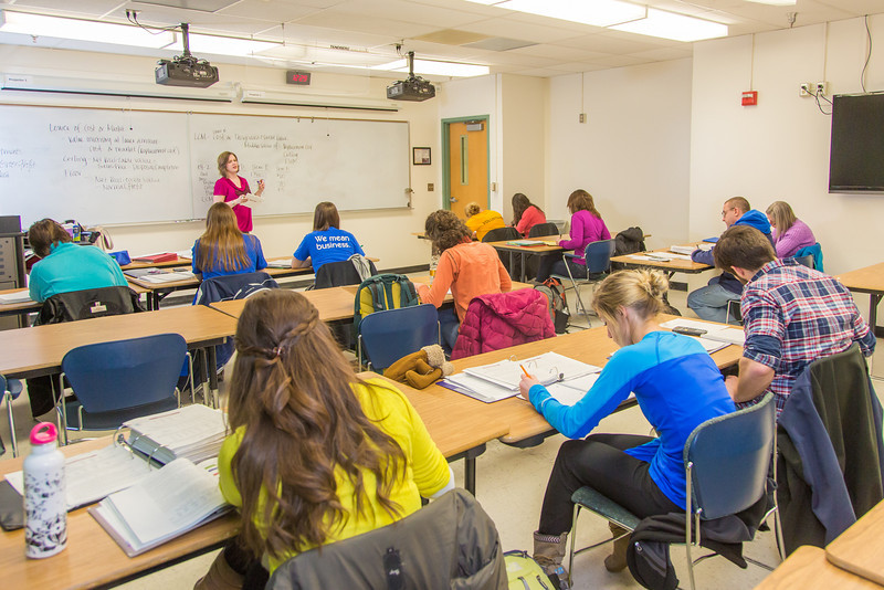 "Amy Cooper lectures to her intermediate accounting students in a Duckering Building classroom.  <div class=""ss-paypal-button"">Filename: AAR-14-4112-101.jpg</div><div class=""ss-paypal-button-end"" style=""""></div>"