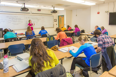 Amy Cooper lectures to her intermediate accounting students in a Duckering Building classroom.  Filename: AAR-14-4112-101.jpg