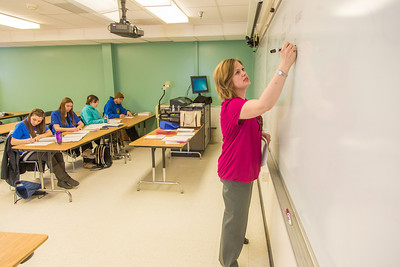 Amy Cooper lectures to her intermediate accounting students in a Duckering Building classroom.  Filename: AAR-14-4112-54.jpg