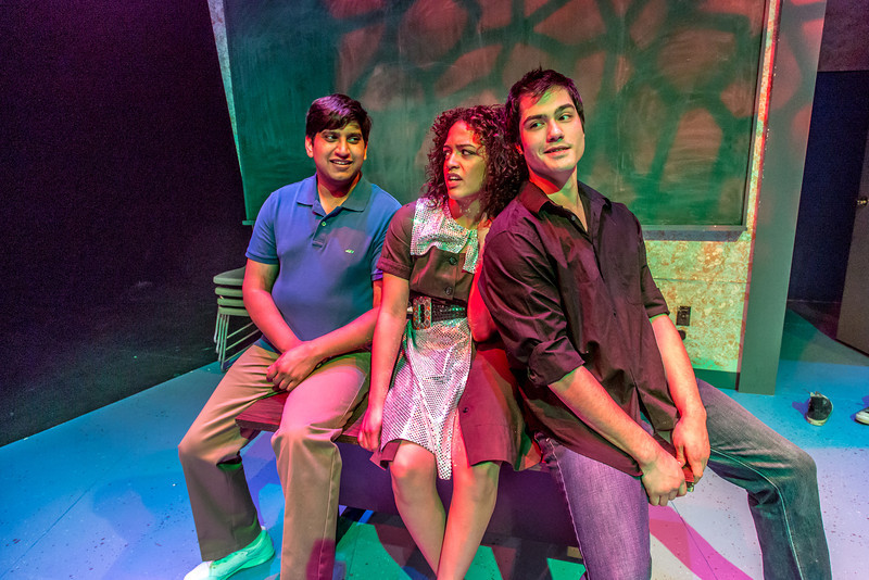 "Cast members Sambit Misra, left, Nicole Cowans, center and Thomas Petrie rehearse a scene from Theatre UAF's production of ""Speech and Debate.""  <div class=""ss-paypal-button"">Filename: AAR-13-3755-159.jpg</div><div class=""ss-paypal-button-end"" style=""""></div>"