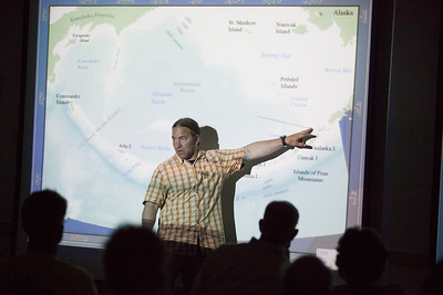 "Reid Brewer discusses his recent projects in Alaskan waters during a lecture of ""The Underwater World of the Aleutians.""  Filename: AAR-12-3447-11.jpg"