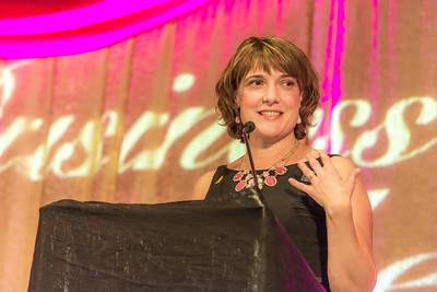 Lorna Shaw, recipient of the School of Management's 2014 Business Leader of the Year award, addresses the audience during the annual banqute April 18 in the Westmark hotel.  Filename: AAR-14-4154-328.jpg