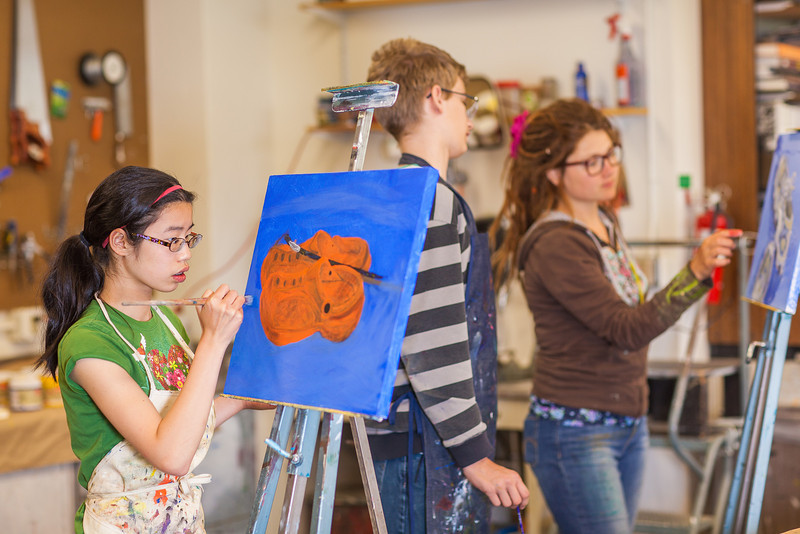 """Youngsters paint works of art at the 2013 Summer Visual Art Academy.  <div class=""""ss-paypal-button"""">Filename: AAR-13-3860-32.jpg</div><div class=""""ss-paypal-button-end"""" style=""""""""></div>"""