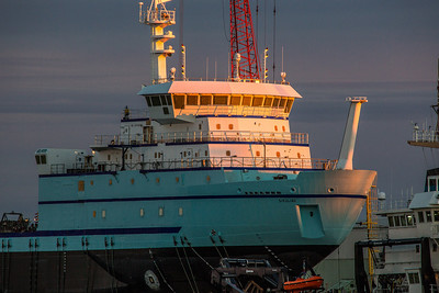 The R/V Sikuliaq sits on the pad at Marinette Marine Corporation in Marinette, Wisc., a day before it's official launch  Filename: AAR-12-3591-40.jpg