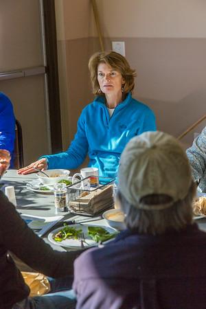 U.S. Senator Lisa Murkowski enjoys a hot meal in the dining hall during a brief visit to UAF's Toolik Field Station in Sept., 2013.  Filename: AAR-13-3929-301.jpg