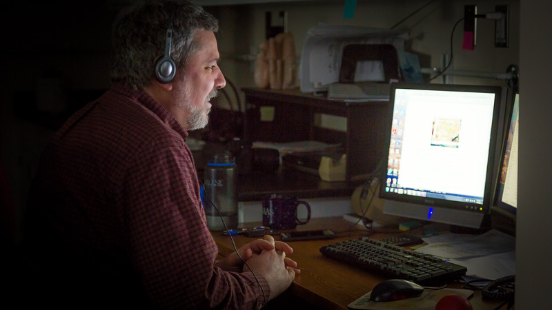 """Associate Professor of Environmental Science Todd Radenbough leads a distance delivered class to students throughout Alaska from his lab at UAF's Bristol Bay Campus in Dillingham.  <div class=""""ss-paypal-button"""">Filename: AAR-16-4860-234.jpg</div><div class=""""ss-paypal-button-end""""></div>"""