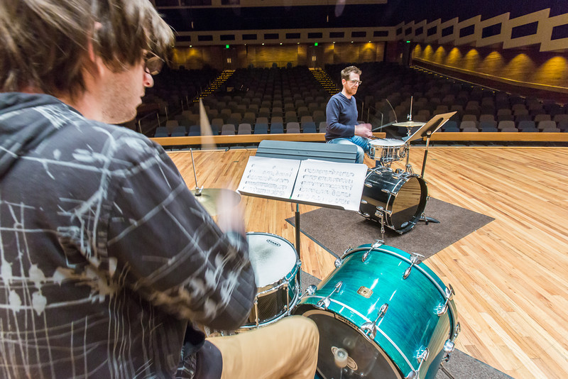 """Percussionist Sean Dowgray works with Professor Morris Palter during class, MUS F606 - Advanced Chamber Music - Percussion, in the Davis Concert Hall.  <div class=""""ss-paypal-button"""">Filename: AAR-14-4094-25.jpg</div><div class=""""ss-paypal-button-end"""" style=""""""""></div>"""