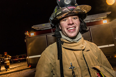Probationary firefighter Ryan Pregent takes part in a live training drill at the Fairbanks International Airport.  Filename: AAR-13-3995-146.jpg