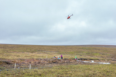 Ph.D candidate Ludda Ludwig, left, and graduate student Kelsey Blake from the University of Victoria in British Columbia, get to work after being dropped off from a helicopter at their research site near the headwaters of the Kuparuk River. Ludwig's study is focused on the movement of water and nutrients from Arctic hillslopes to streams. The pair took off from the Toolik Field Station research facility, located about 370 miles north of Fairbanks on Alaska's North Slope.  Filename: AAR-14-4217-041.jpg