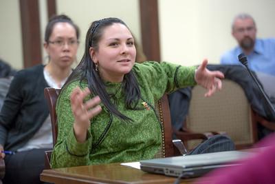 Kristina Ramirez from Dillingham presents mock testimony to her peer students in RD 492 - Understanding the Legislative Process, at the conclusion of their week-long seminar in Juneau. inar in Juneau.  Filename: AAR-13-3714-842.jpg