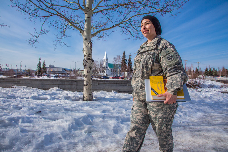 """Soldiers like Abraham Coria can take classes through UAF's e-Learning programs while stationed at Fort Wainwright in Fairbanks.T  <div class=""""ss-paypal-button"""">Filename: AAR-14-4130-105.jpg</div><div class=""""ss-paypal-button-end"""" style=""""""""></div>"""