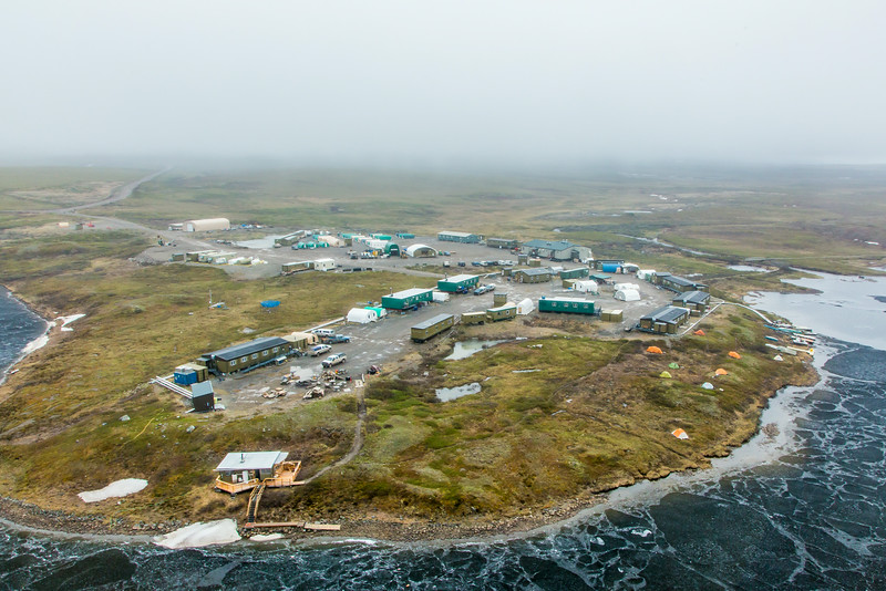 "An aerial view of the Toolik Field Station, about 370 miles north of Fairbanks on Alaska's North Slope . The camp is operated by UAF's Institute of Arctic Biology and hosts scientists from around the world for a variety of arctic-based research efforts.  <div class=""ss-paypal-button"">Filename: AAR-14-4216-247.jpg</div><div class=""ss-paypal-button-end""></div>"