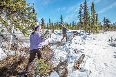 Daisy Huang, left, a research engineer for the Alaska Center for Energy and Power, works with intern Luke George to install a meteorological station on a hillside near the Black Rapids Lodge, about 150 miles southeast of Fairbanks. The station will record wind speed and direction, as well as temperatures at different altitudes.  Filename: AAR-13-3843-50.jpg
