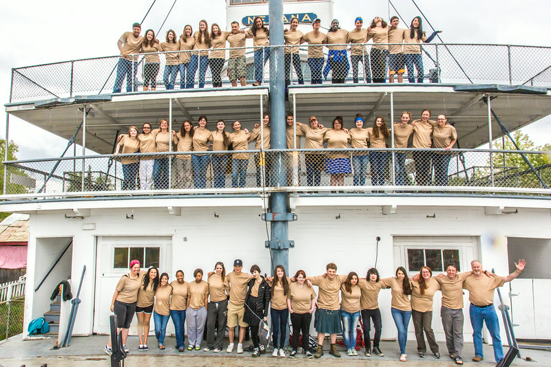 """Participants in the School of Management's Alaska Team Leadership Summit (ATLAS) pose for a group photo on the riverboat Nenana in Pioneer Park.  <div class=""""ss-paypal-button"""">Filename: AAR-14-4207-29.jpg</div><div class=""""ss-paypal-button-end""""></div>"""