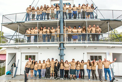 Participants in the School of Management's Alaska Team Leadership Summit (ATLAS) pose for a group photo on the riverboat Nenana in Pioneer Park.  Filename: AAR-14-4207-29.jpg