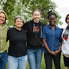 "From left: Kristin O'Brien, Paula Dell, Laura Teigen, Isabell Raymundo, and Olalade Olawale pose for a photo outside the Arctic Health and Research Building.  <div class=""ss-paypal-button"">Filename: AAR-12-3457-87.jpg</div><div class=""ss-paypal-button-end"" style=""""></div>"