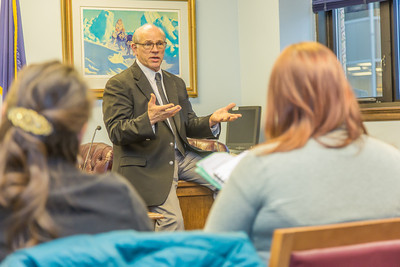 Students from UAF's Alaska Native Studies and Rural Development program meet with Senate Majority Leader John Coghill during their weeklong seminar on Understanding the Legislative Process in the state capital of Juneau.  Filename: AAR-14-4053-44.jpg