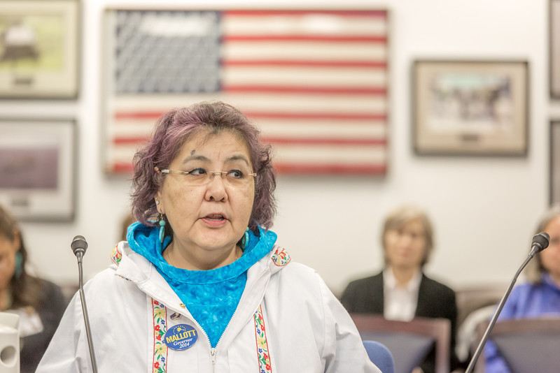 "Molly Jacobson, a senior in UAF's rural development program from Bethel, presents testimony before a committee of her peers during a mock legislative hearing as part of a weeklong seminar on understanding the legislative process in Juneau.  <div class=""ss-paypal-button"">Filename: AAR-14-4056-77.jpg</div><div class=""ss-paypal-button-end"" style=""""></div>"