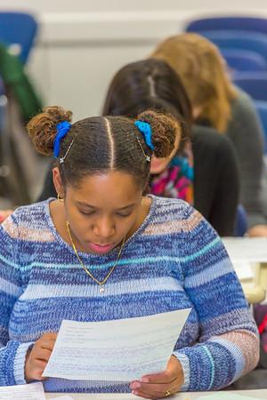 Students in Associate Professor Dani Sheppard's Psychology 335 class, Brain and Behavior, take their final exam Dec. 17 in the Gruening Building.  Filename: AAR-14-4414-136.jpg