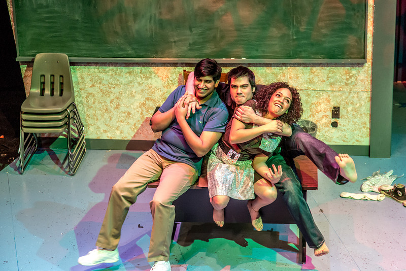 "Cast members Nicole Cowans, right, Sambit Misra, left, and Thomas Petrie, center, rehearse a scene from Theatre UAF's production of ""Speech and Debate.""  <div class=""ss-paypal-button"">Filename: AAR-13-3755-93.jpg</div><div class=""ss-paypal-button-end"" style=""""></div>"