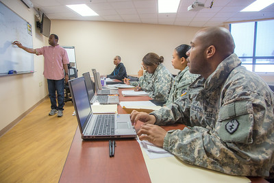 Soldiers stationed at Fort Wainwright have access to college classes through the Education Center on base.  Filename: AAR-14-4135-73.jpg