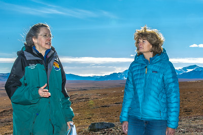 Donie Bret-Harte, associate science director at UAF's Toolik Field Station, explains some of the research efforts underway near the arctic facility with U.S. Senator Lisa Murkowski during a brief tour in Sept. 2013.  Filename: AAR-13-3929-327.jpg