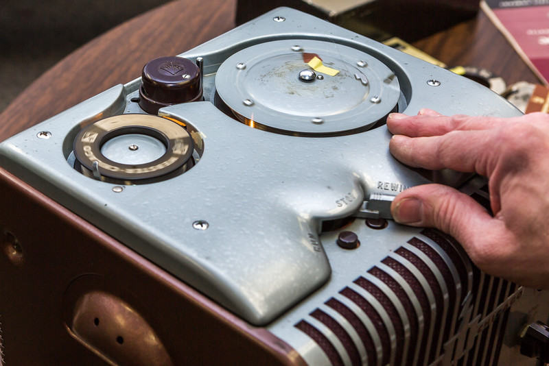 """This recording device and several accompanying recording wires were recently donated to the Oral History program at UAF's Rasmuson Library. The recorder used technology popular through the country in the 1930s-1960s.  <div class=""""ss-paypal-button"""">Filename: AAR-16-4783-58.jpg</div><div class=""""ss-paypal-button-end""""></div>"""