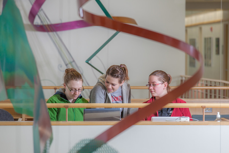 """Biology students Danielle Woodard, left, Tiffany Green and Robin Palmer study between classes in the Reichardt Building.  <div class=""""ss-paypal-button"""">Filename: AAR-12-3386-79.jpg</div><div class=""""ss-paypal-button-end"""" style=""""""""></div>"""