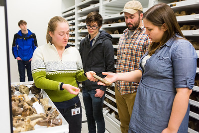 Collection Specialist Julie Rousseau leads a group of students for a tour of the Museum of the North's lower level during the Life in the Age of Dinosaurs lab.  Filename: AAR-14-4066-59.jpg