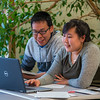 "Corey Joseph, left, from Kwigillingok and Maryanna Jimmie from Bethel collaborate on a project at UAF's Kuskokwim Campus in Bethel.  <div class=""ss-paypal-button"">Filename: AAR-16-4859-066.jpg</div><div class=""ss-paypal-button-end""></div>"
