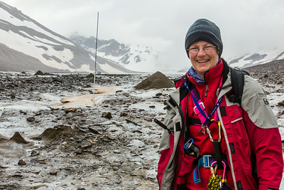 Professor Regine Hock, a glaciologist with UAF's Geophysical Institute, poses during a research field trip to the Jarvis Glacier in the eastern Alaska Range.  Filename: AAR-14-4256-478.jpg