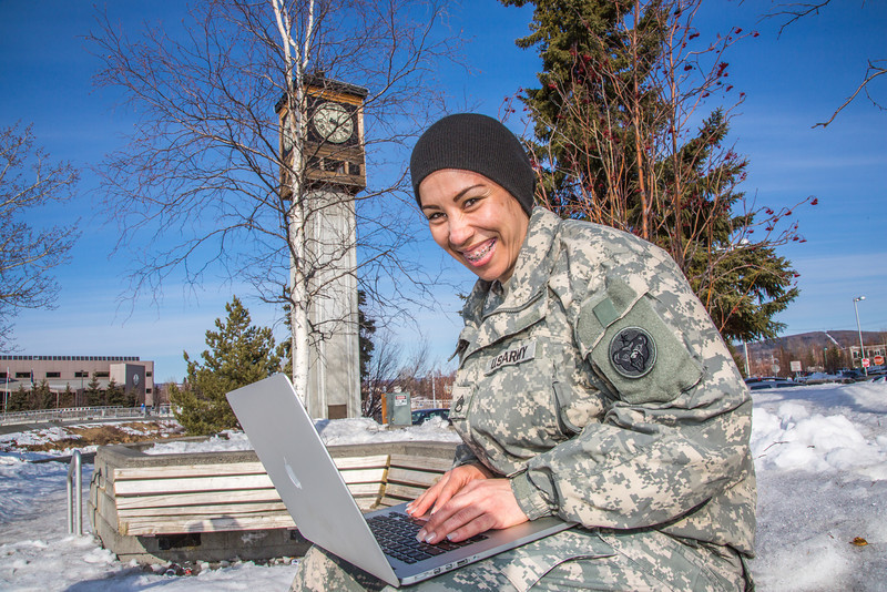 """Soldiers like Abraham Coria can take classes through UAF's e-Learning programs while stationed at Fort Wainwright in Fairbanks.T  <div class=""""ss-paypal-button"""">Filename: AAR-14-4130-64.jpg</div><div class=""""ss-paypal-button-end"""" style=""""""""></div>"""