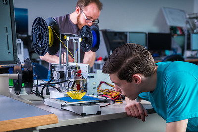 Students take advantage of the facilities in UAF's Community and Technical College's 3-D print lab in downtown Fairbanks.  Filename: AAR-16-4857-118.jpg