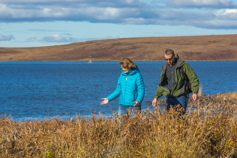 """Senator Lisa Murkowski visits with UAF Professor Bill Bristow during the senator's brief visit to UAF's Toolik Field Station about 330 miles north of Fairbanks in Sept, 2013.  <div class=""""ss-paypal-button"""">Filename: AAR-13-3929-308.jpg</div><div class=""""ss-paypal-button-end""""></div>"""