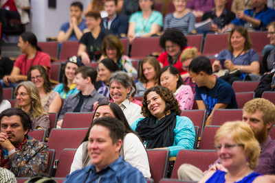 Participants listen to welcoming remarks for the 2016 Collaborative Language Research conference in the Schaible Auditorium on the Fairbanks campus.  Filename: AAR-16-4919-16.jpg