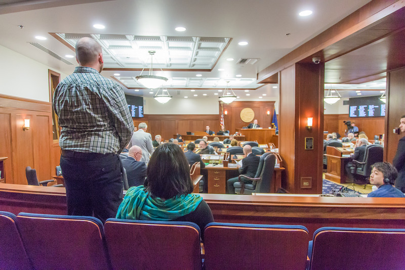 """Uriah Nalikak, an undergraduate from Barrow, was among a group of students from rural Alaska attending a weeklong seminar on Understanding the Legislative Process in Juneau formally introduced on the floor of the Alaska State House of Representatives.  <div class=""""ss-paypal-button"""">Filename: AAR-14-4054-129.jpg</div><div class=""""ss-paypal-button-end"""" style=""""""""></div>"""