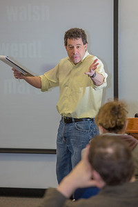 Guest lecturer Willy Stern makes a point in his lecture during the 2013 Wintermester investigative reporting class in the Gruening Building.  Filename: AAR-13-3693-31.jpg