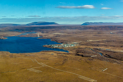 An aerial view of the Toolik Field Station, about 330 miles north of Fairbanks on Alaska's North Slope . The camp is operated by UAF's Institute of Arctic Biology and hosts scientists from around the world for a variety of arctic-based research efforts.  Filename: AAR-13-3929-193.jpg