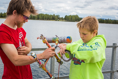Alaska Summer Research Academy participants test their remotely operated underwater vehicles at the Chena Lake Recreation Area on Thursday, July 28.  Filename: AAR-16-4943-99.jpg
