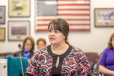 Misty Savo, on undergraduate from Dillingham, presents testimony before a committee of her peers during a mock legislative hearing as part of a weeklong seminar on understanding the legislative process in Juneau.  Filename: AAR-14-4056-101.jpg